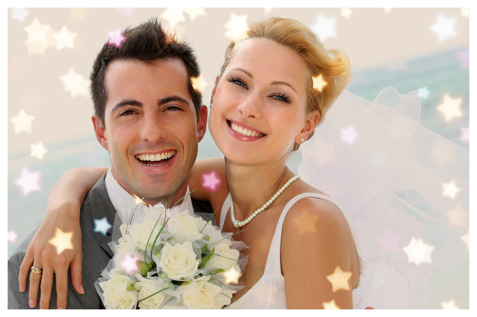 Wedding photo card with bokeh effect applied online