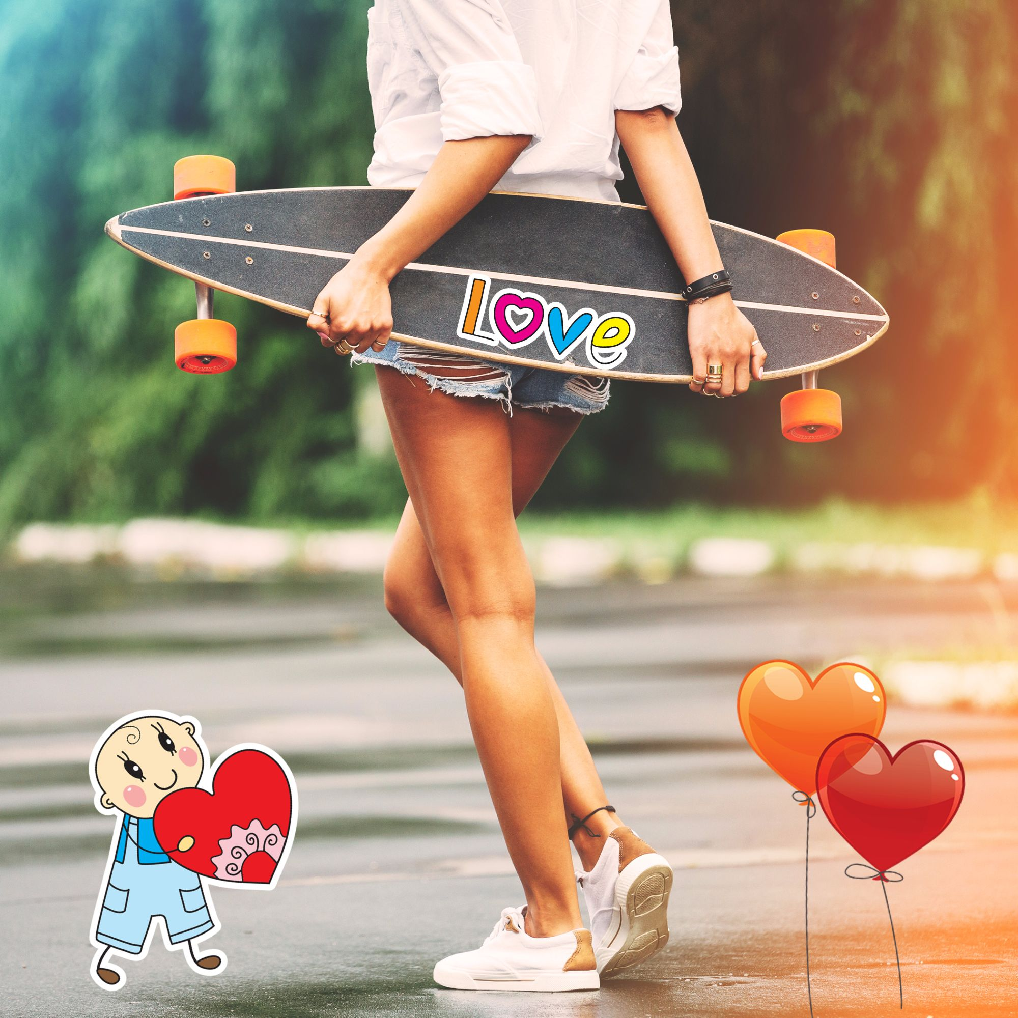 Love photo card with funny stickers was made online with the help of free photo editor