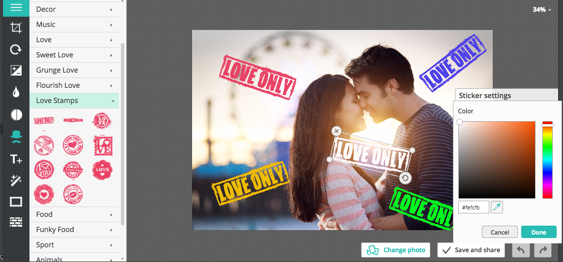 New collection of love stickers given in the free online photo editor