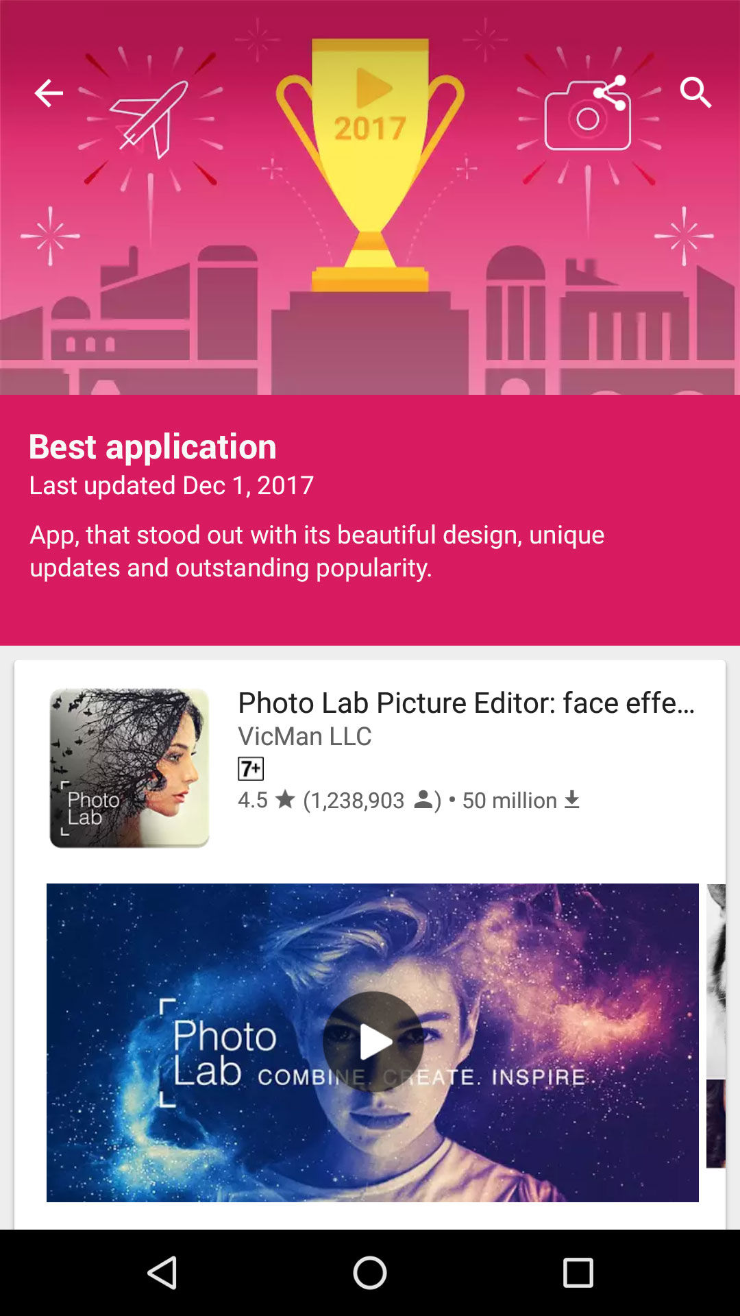 Photo Lab is the best app of 2017 in Google Play Russia
