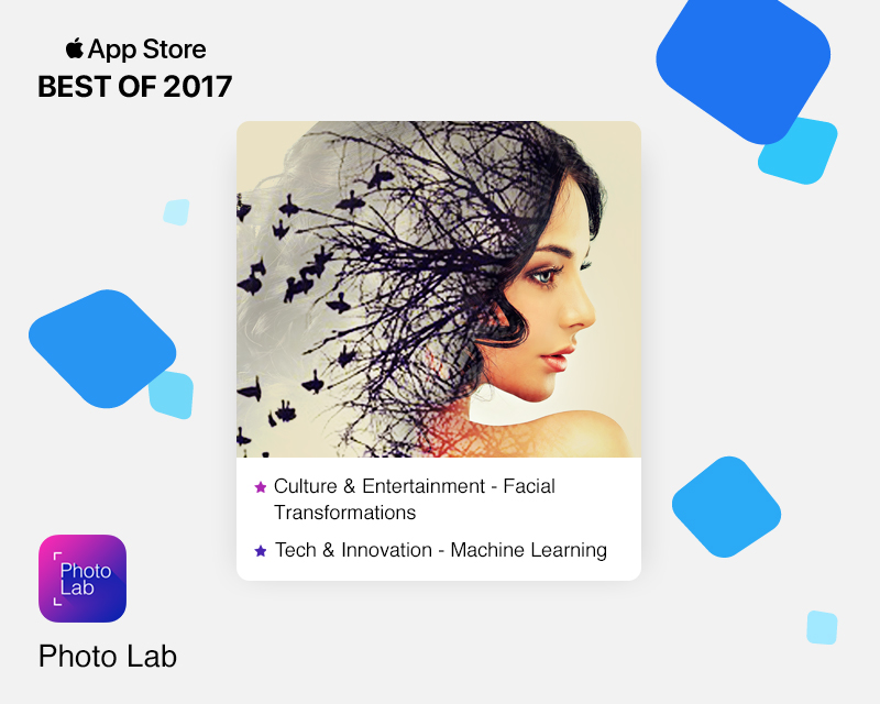 Photo Lab app as featured on iTunes in 2017