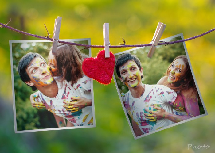 Romantic photo montage for two photos