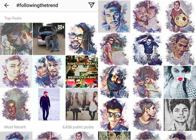 Search by #followingthetrend hashtag in Instagram