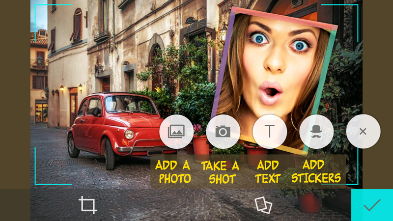 Free collage and selfie editor with funny stickers and stylish text captions