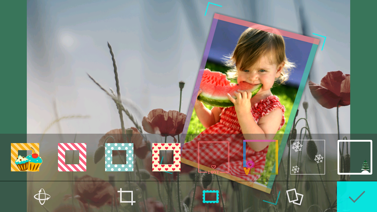 Colorful photo frames for selfie photos