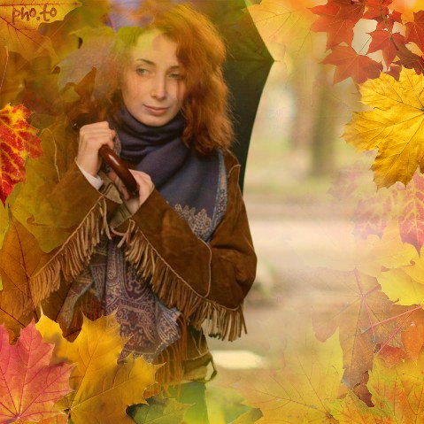 Photo background/overlay with autumn leaves added to a portrait photo of beautiful girl