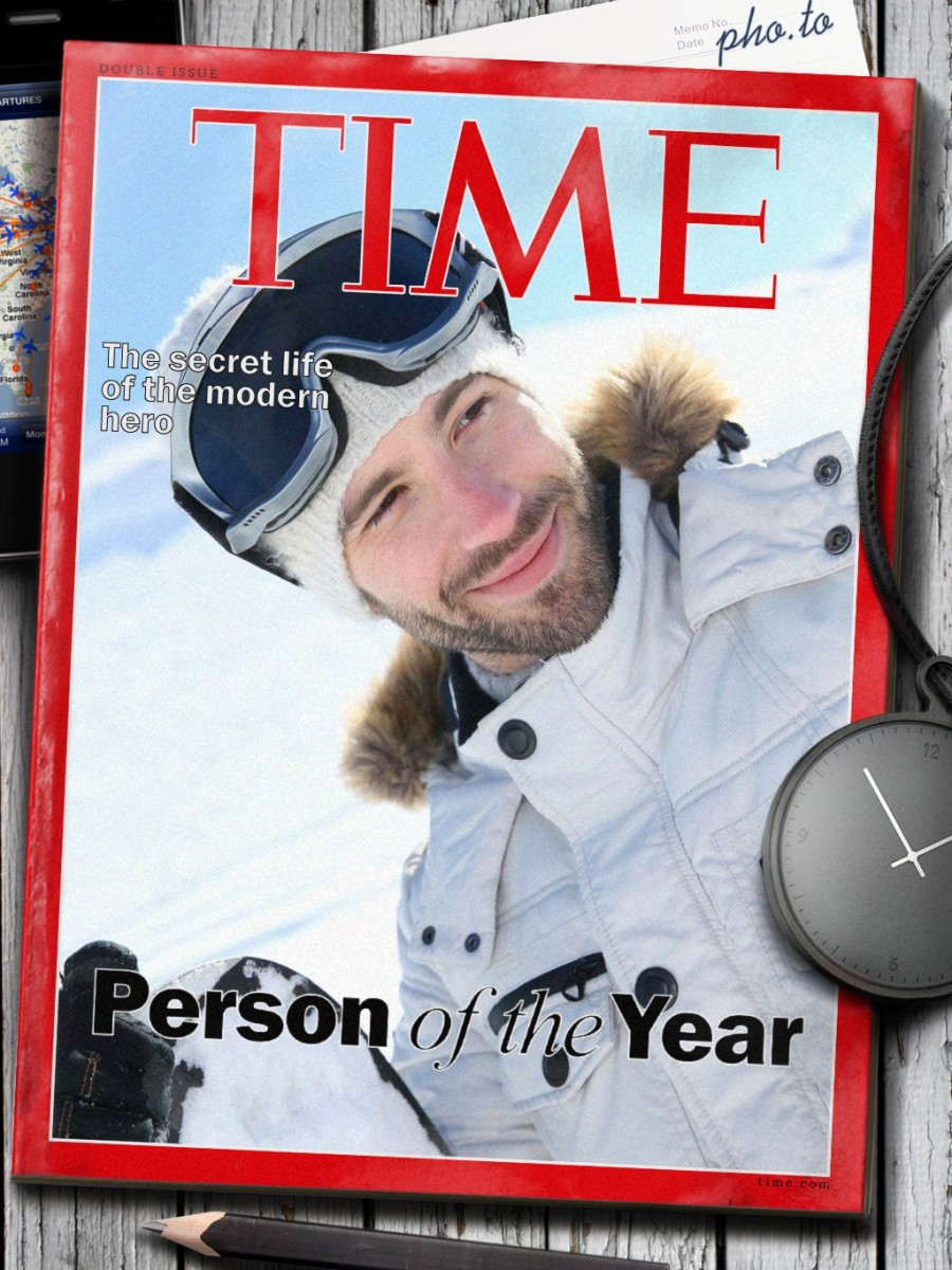 A nice winter photo of a skier in the mountains placed into the fake Time magazine cover