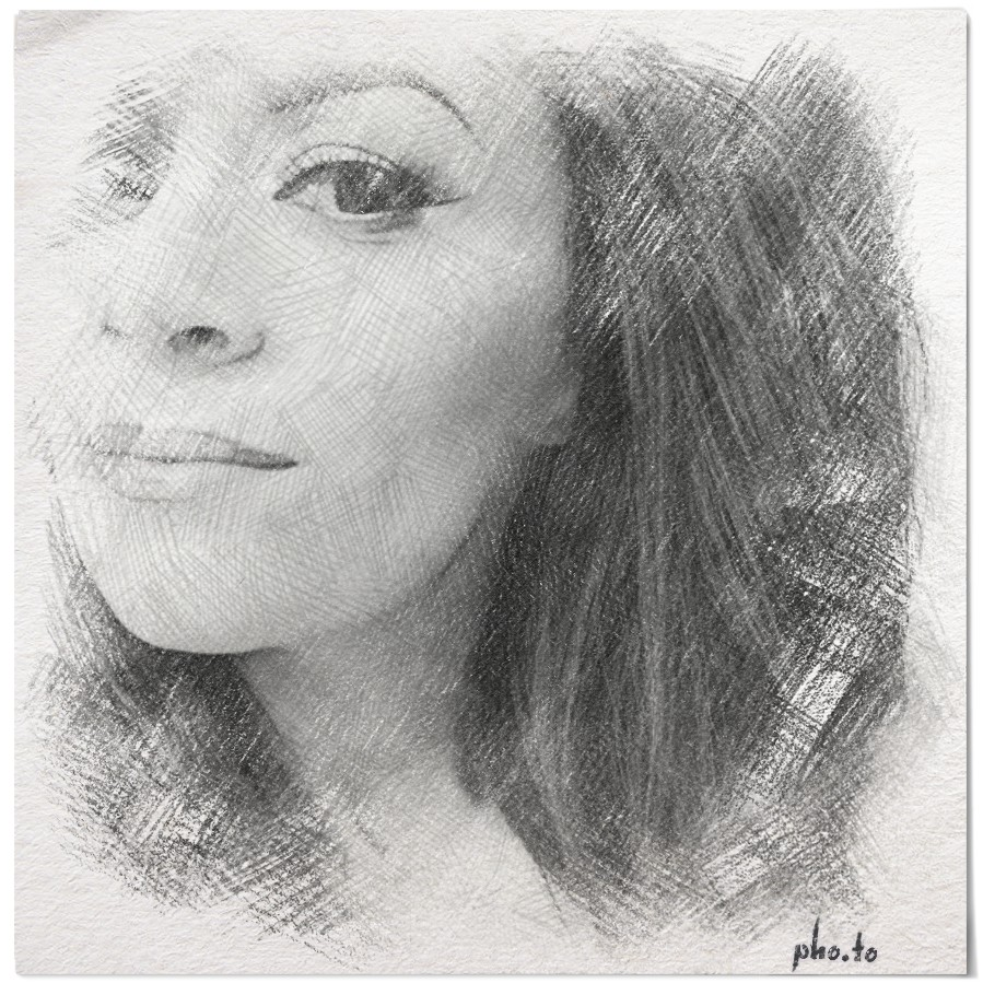 A selfie of a beautiful young brunette turned to pencil sketch with online photo modifier