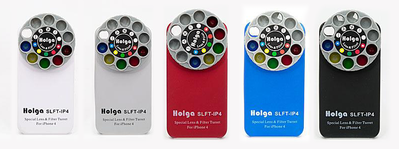 The Holga kit with a number of detachable lenses for mobile phones