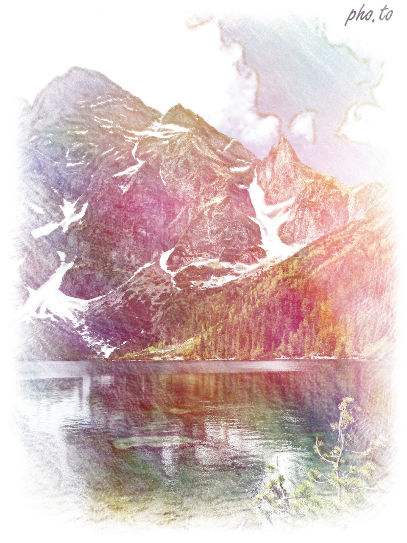 A landscape photo edited to turn it into a dreamy sketch