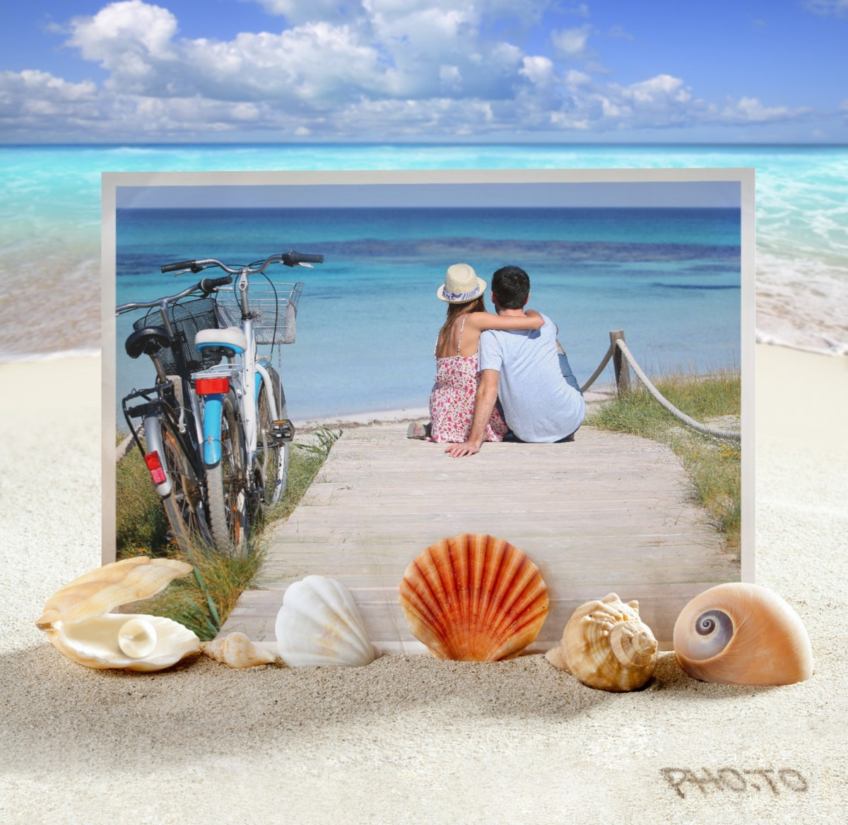 Photo of a happy couple near the sea with a summer frame applied