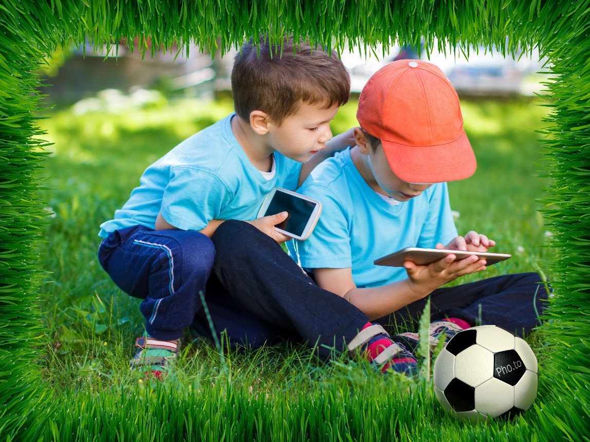 Green football photo frame is applied to a photo of two boys playing outside