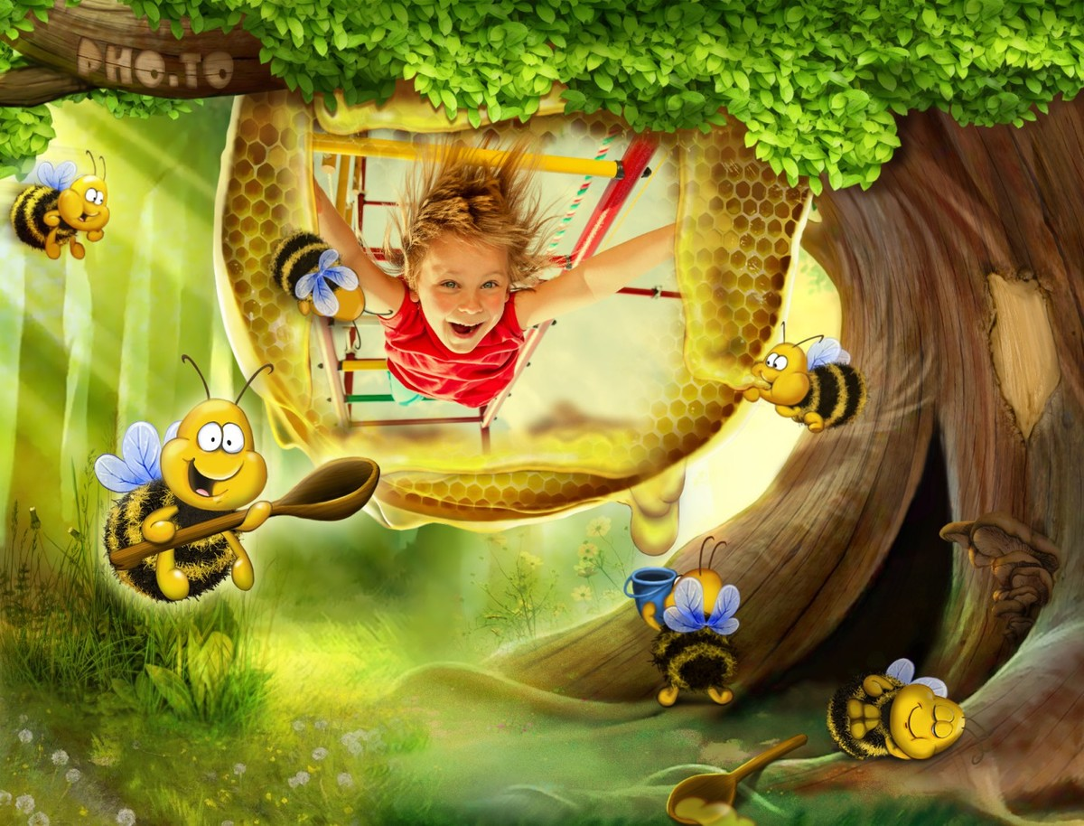 Photo frame with bees is applied to cool child's photo