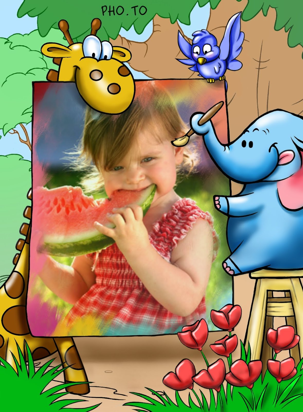 Photo frame with anumals is a plied to a photo of a kid, eating water mellon