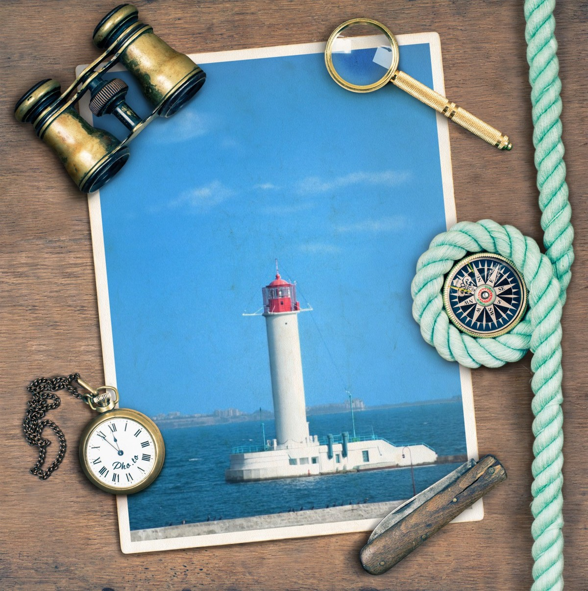Digital ocean frame is applied to a photo of a lighthouse