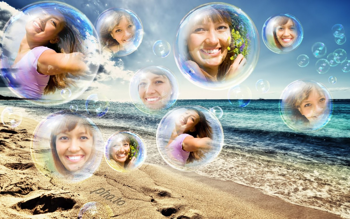 Photo collage with a number of portraits photos united in one picture with sand, beach and water bubbles