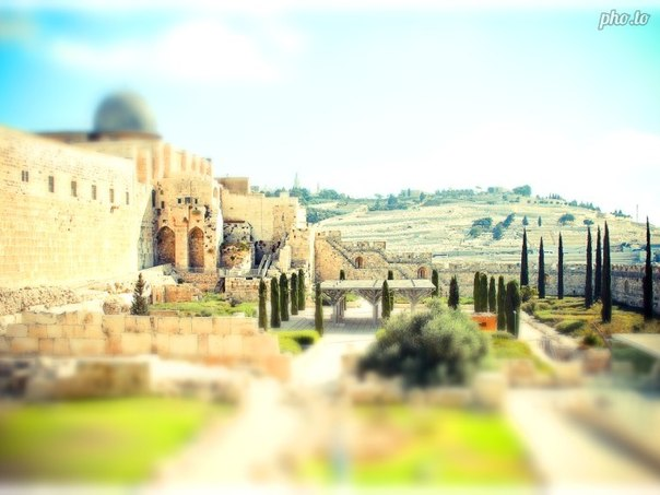 A tilt shift eefect is applied to a landscape scenery