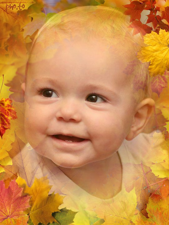 Photo background with autumn leaves was added to a photo of a little laughing child