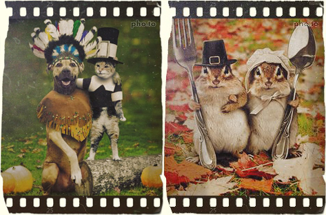 Happy Thanksgiving artistic photo card personalized with short text wishes