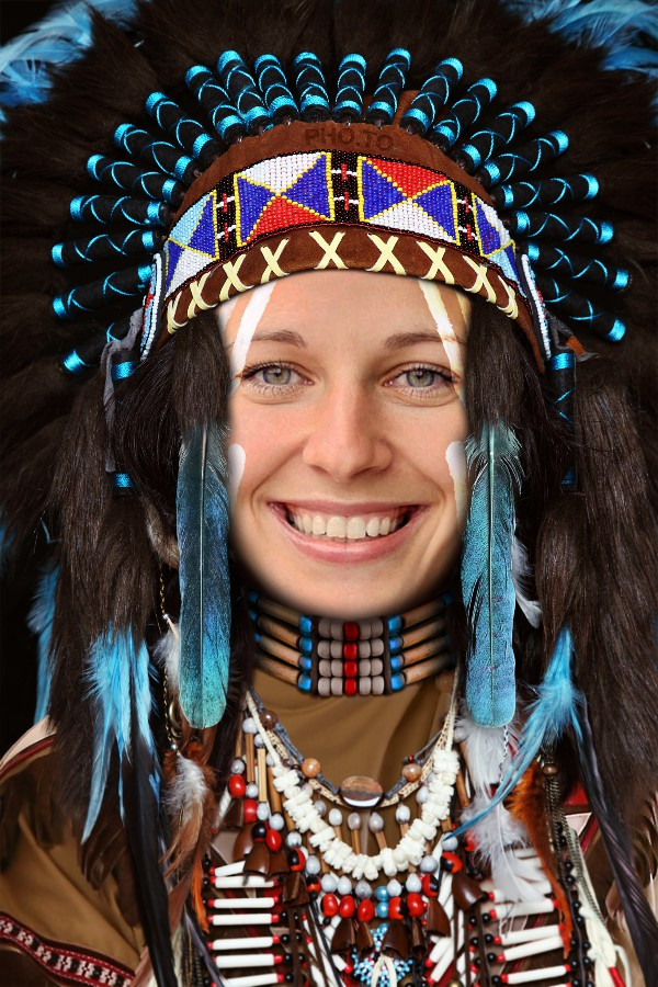 On Thanksgiving become a Native American wearing a war bonnet with this face in hole photo template