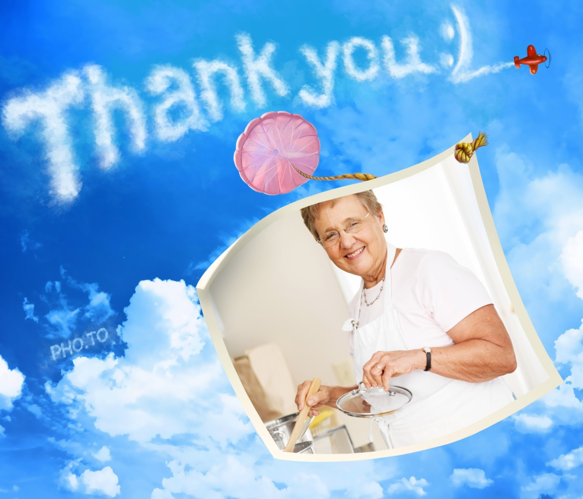 A Thanks you photo card was made to thank a granny cooking lots of tasty dishes for Thanksgiving holiday table