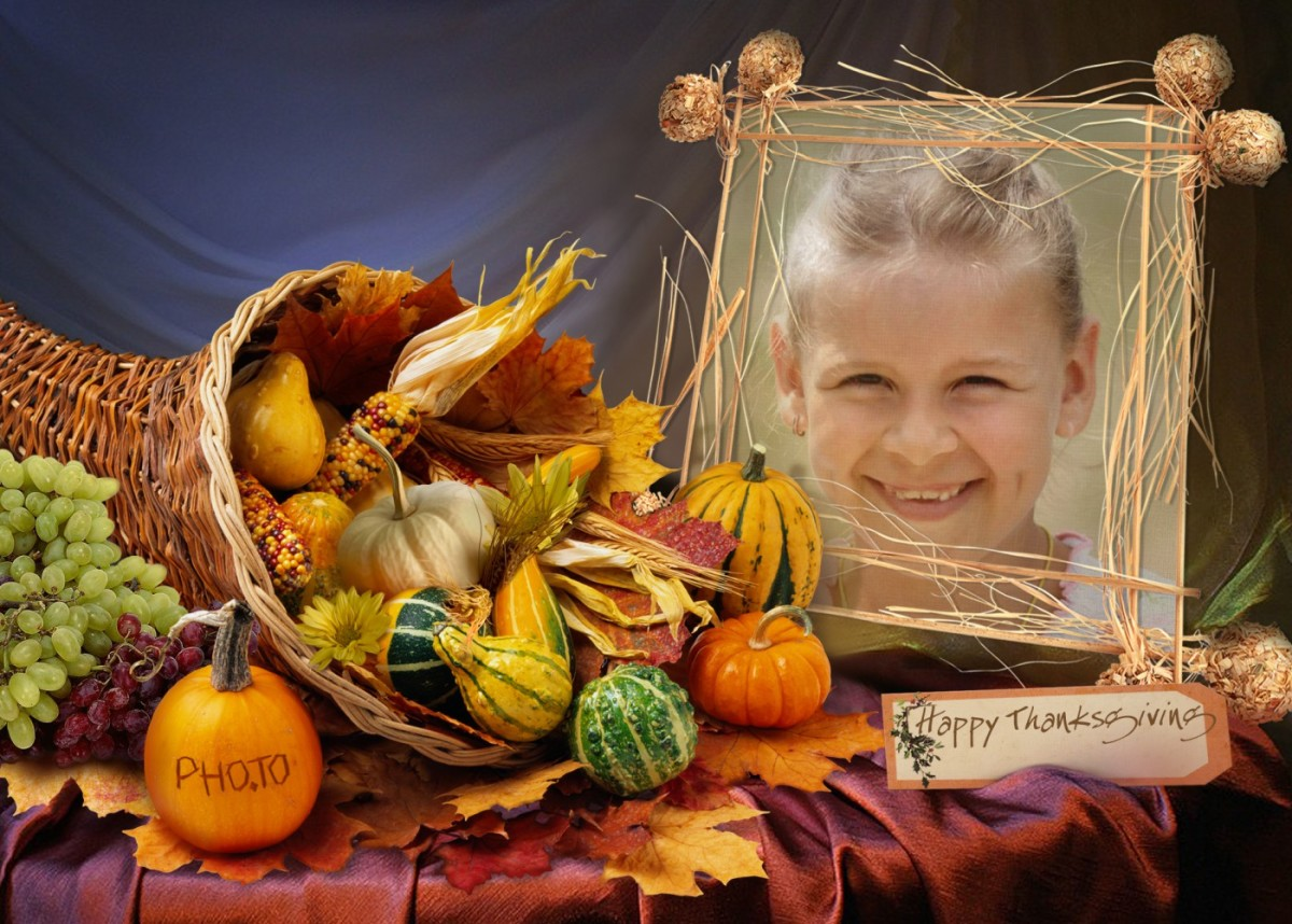 Happy Thanksgiving  photo card with the symbol of harvest - cornucopia, or the horn of plenty, personalized with a photo of a little smiling girl