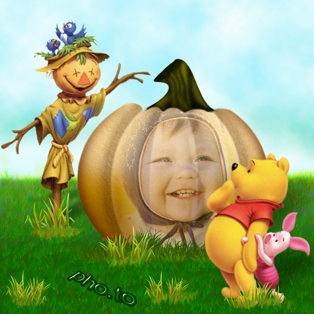 Thanksgiving photo frame for kids with a pumpkin, Winnie the Pooh and a scarecrow