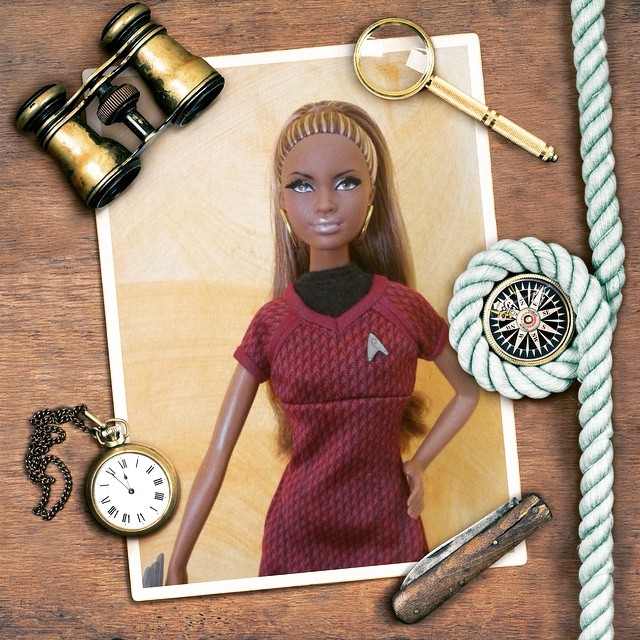Photo of a Barby doll placed into the marine photo frame