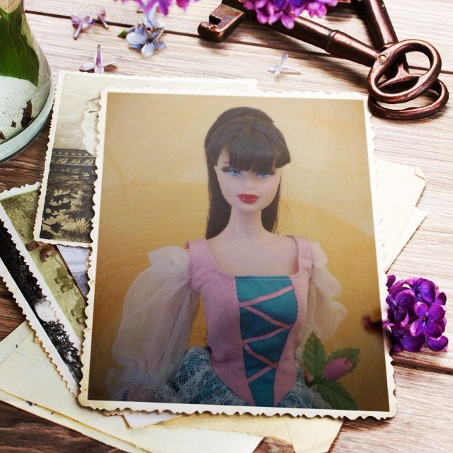 Lilac still-life frame added to a photo of a beautiful Barby doll