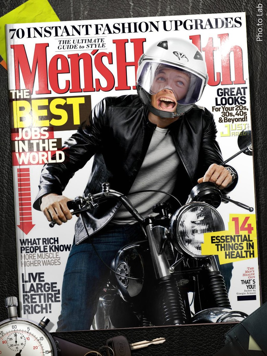 Face of a laughing man is placed into a fake magazine cover of Men's Health