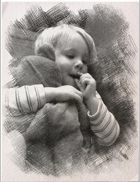 Photo of a little boy is turned into a graphite pencil sketch
