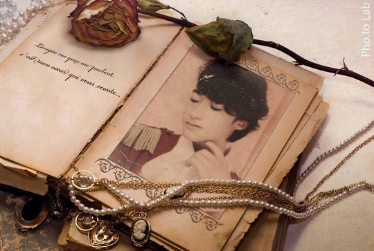 Vintage photo frame is added to a cosplay photo of young Asian singer