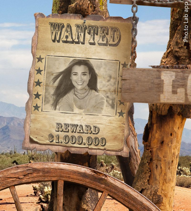 Wanted poster template was added to a photo of young attractive girl