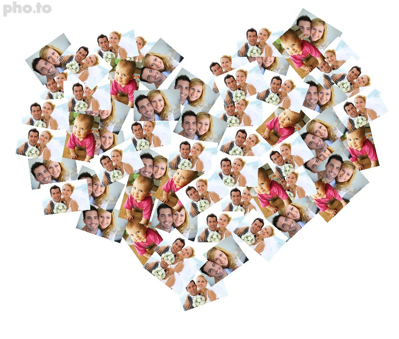Make a beautiful heart shaped photo collage for St. Valentine's day for free