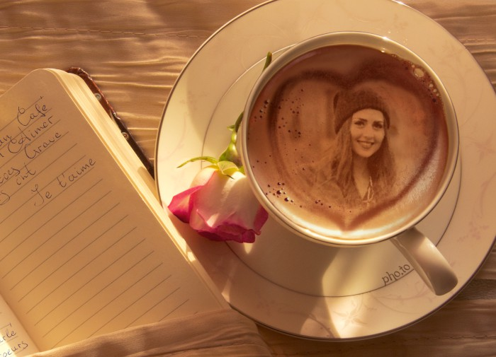 Fantastic photo effect: portrait in a cup of coffee