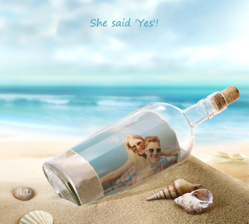 Wedding invitation presented as a message in a bottle.