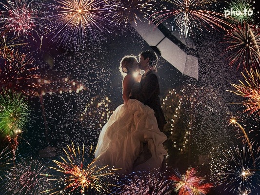 Add fireworks to your wedding, even if only in a photo.
