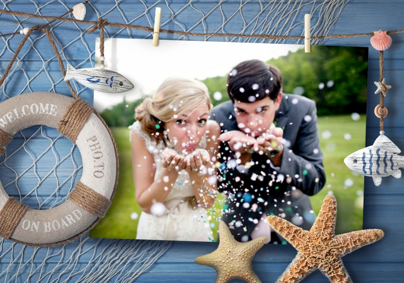 Wedding photo in nautical-styled photo frame.