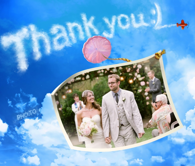 Easily make a thank you wedding card with your photo