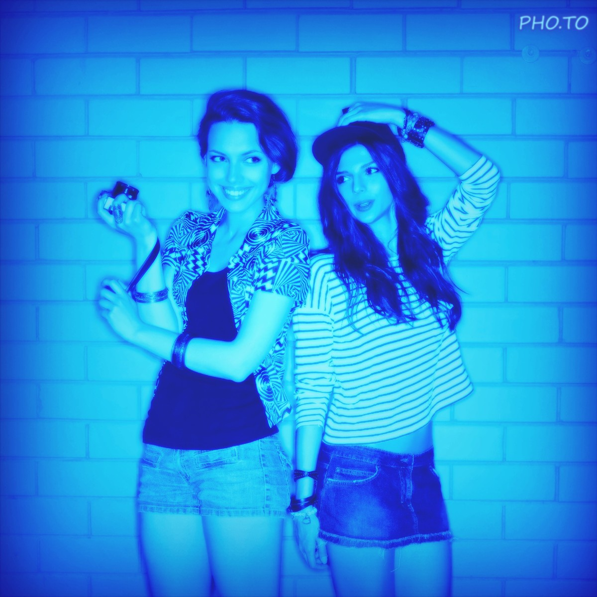 A blue lighting photo effect which imitates the disco lighting from underground parties