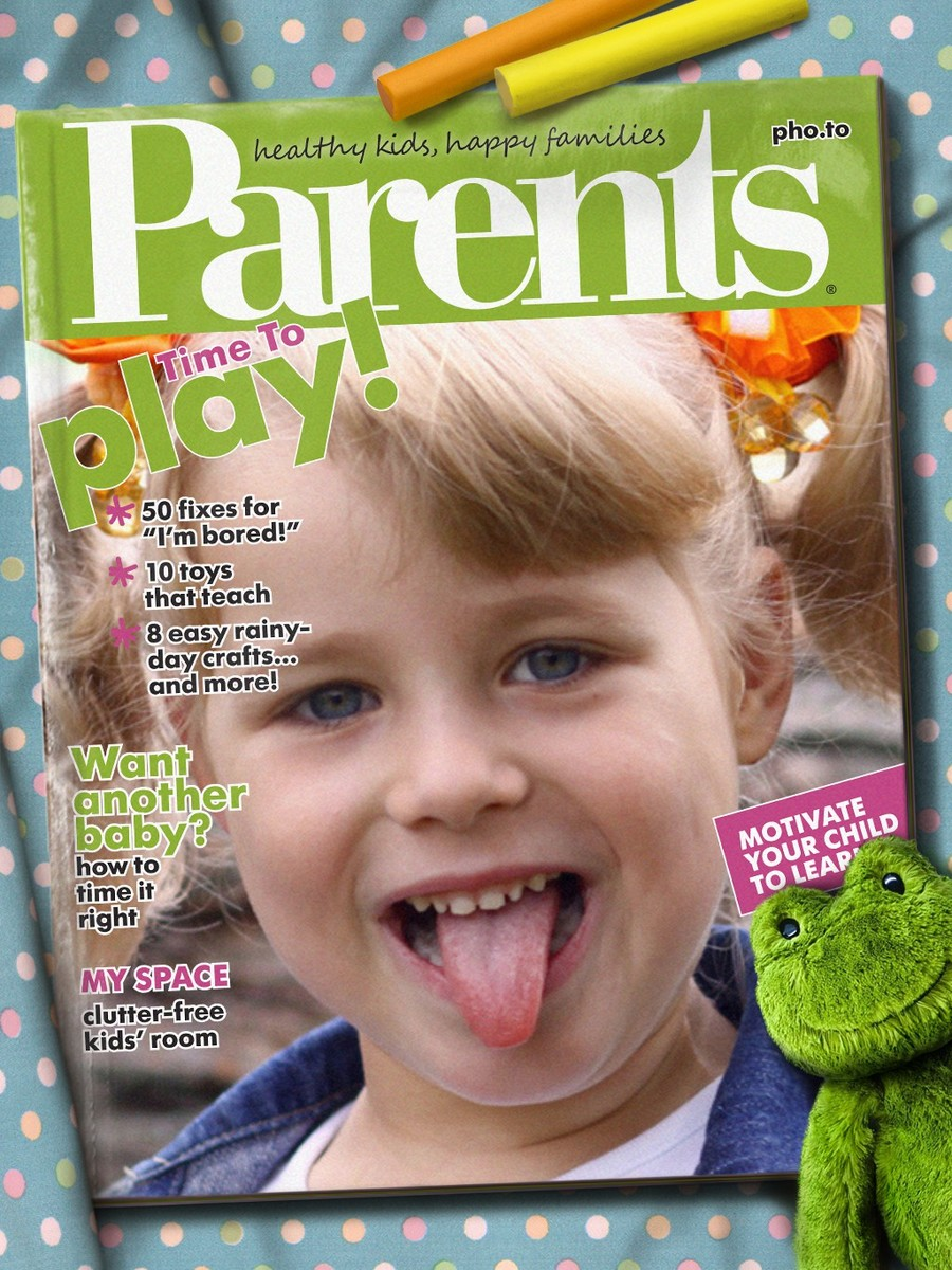 Place your photo to a fake magazine cover of Parents magazine