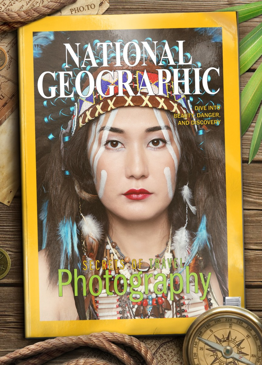 Place your photo to a fake magazine cover of National Geographic magazine