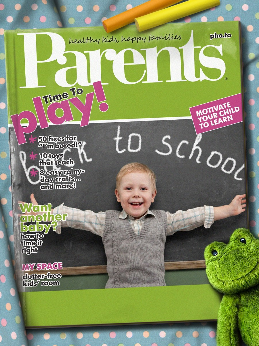 A magazine cover template for Parents and their kids