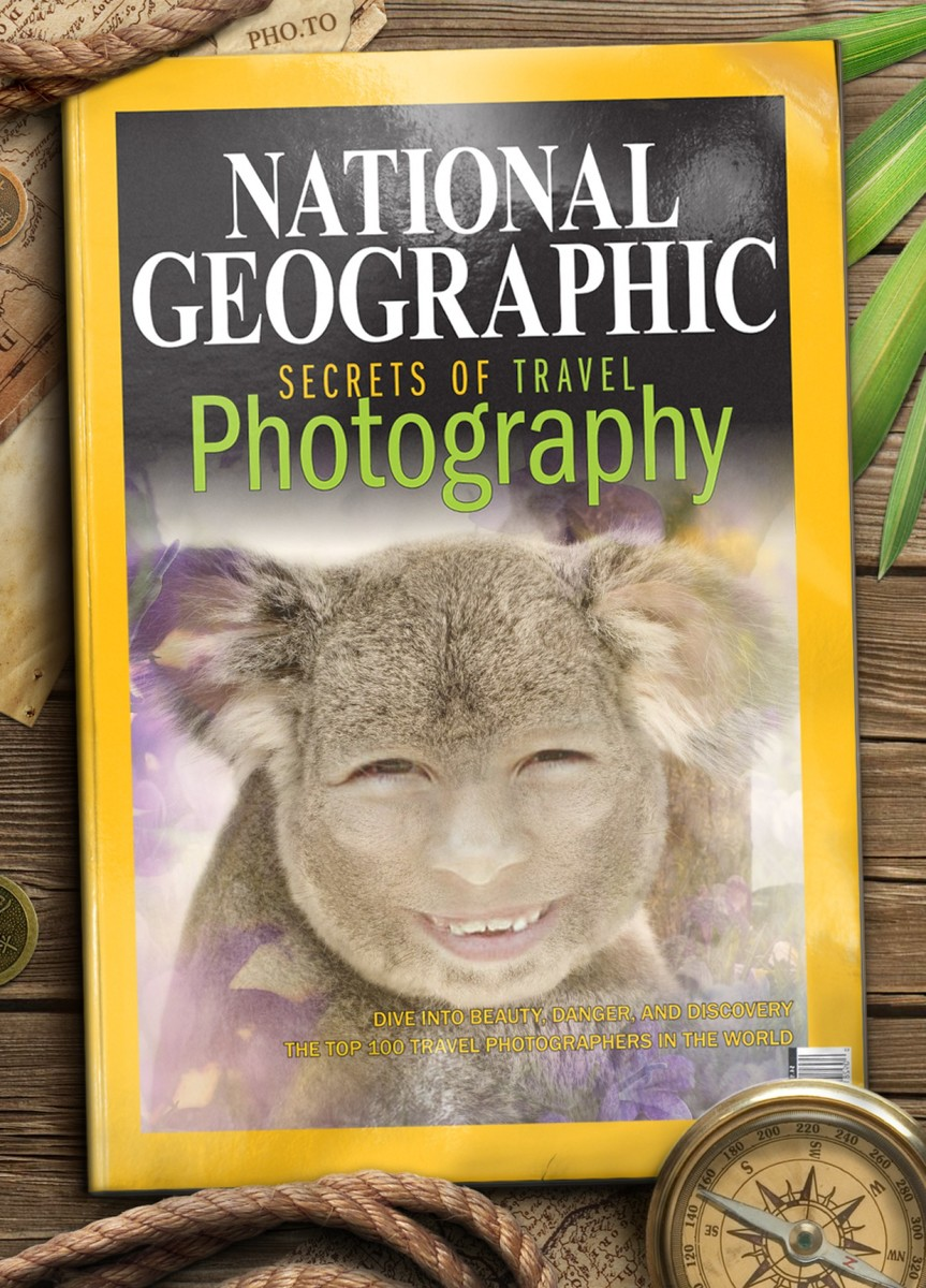 A fake National Geographic cover with a human to animal photo montage placed as a cover photo