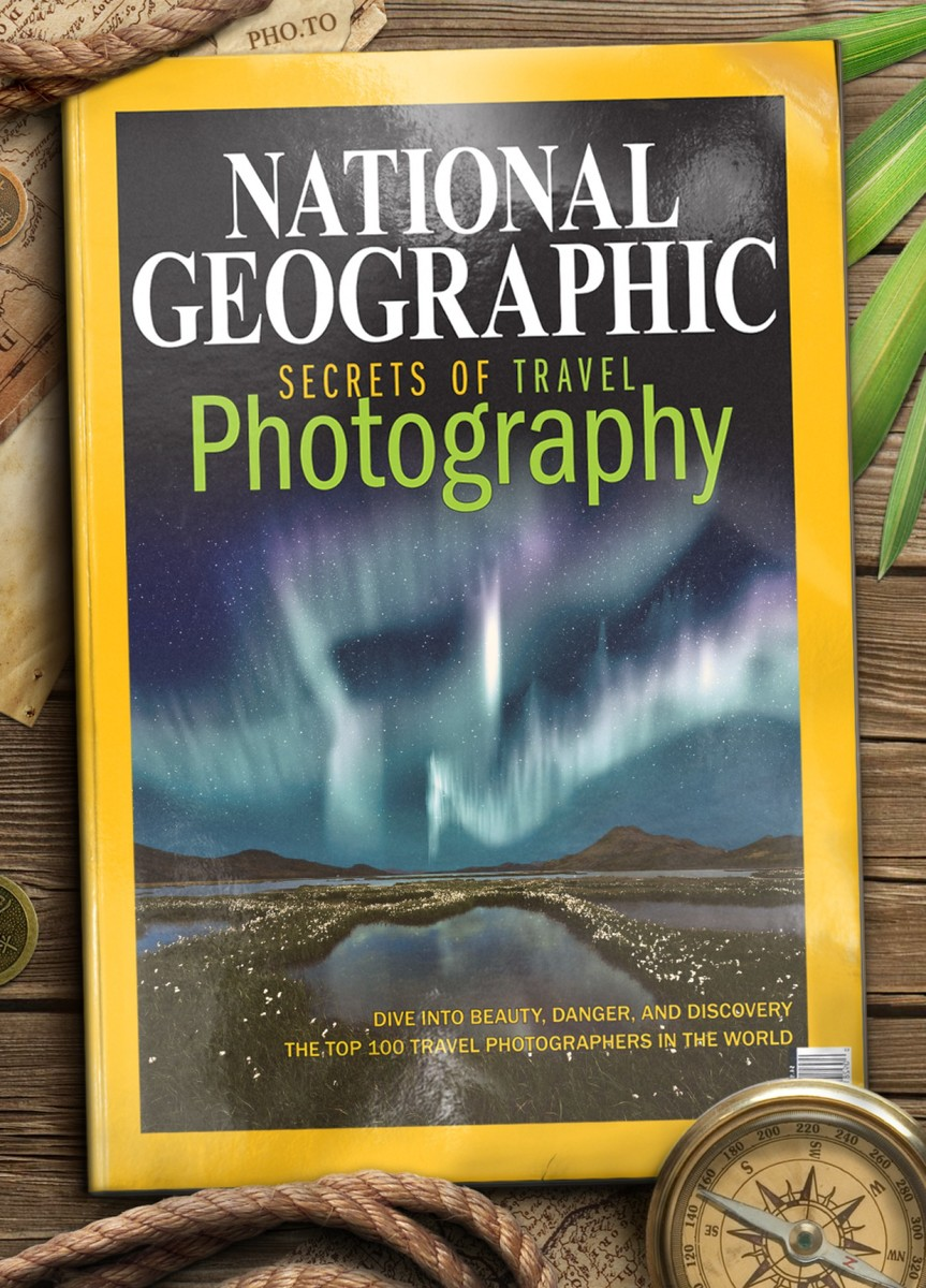 A magazine cover template of National Geographic for travel photographers