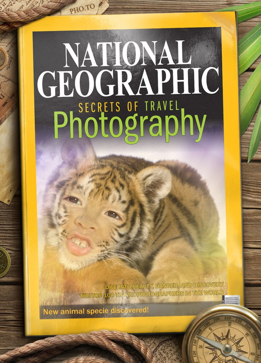 A fake National geographic cover with human to tiger face montage