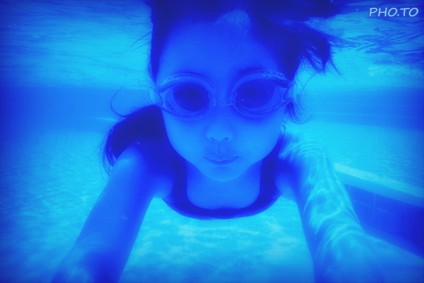 A blue lighting effect which imitates deep water lighting