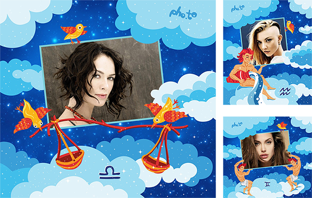 Free Zodiac photo greeting cards applied photos of famous actors born under the constellations of air signs: Lena Headey, Angelina Jolie and Natalie Dormer.