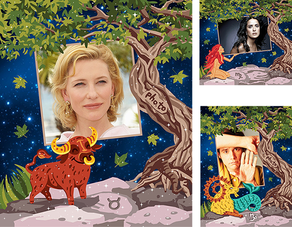 Free Zodiac photo frames added to photos of famous actors born under the constellations of earth signs: Cate Blanchett, Jim Carrey and Salma Hayek.
