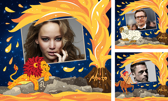 Zodiac photo cards with photos of famous actors born under the constellations of fire signs: Jennifer Lawrence, Gary Oldman and Brad Pitt
